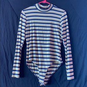 Long-Sleeve, Striped, Bodysuit